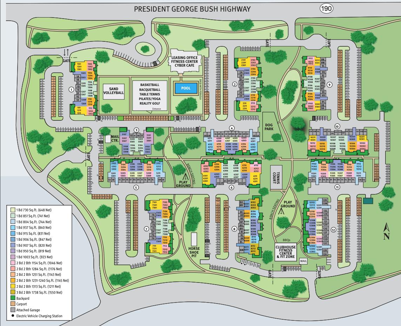 Site map for Estates of Richardson in Richardson, Texas