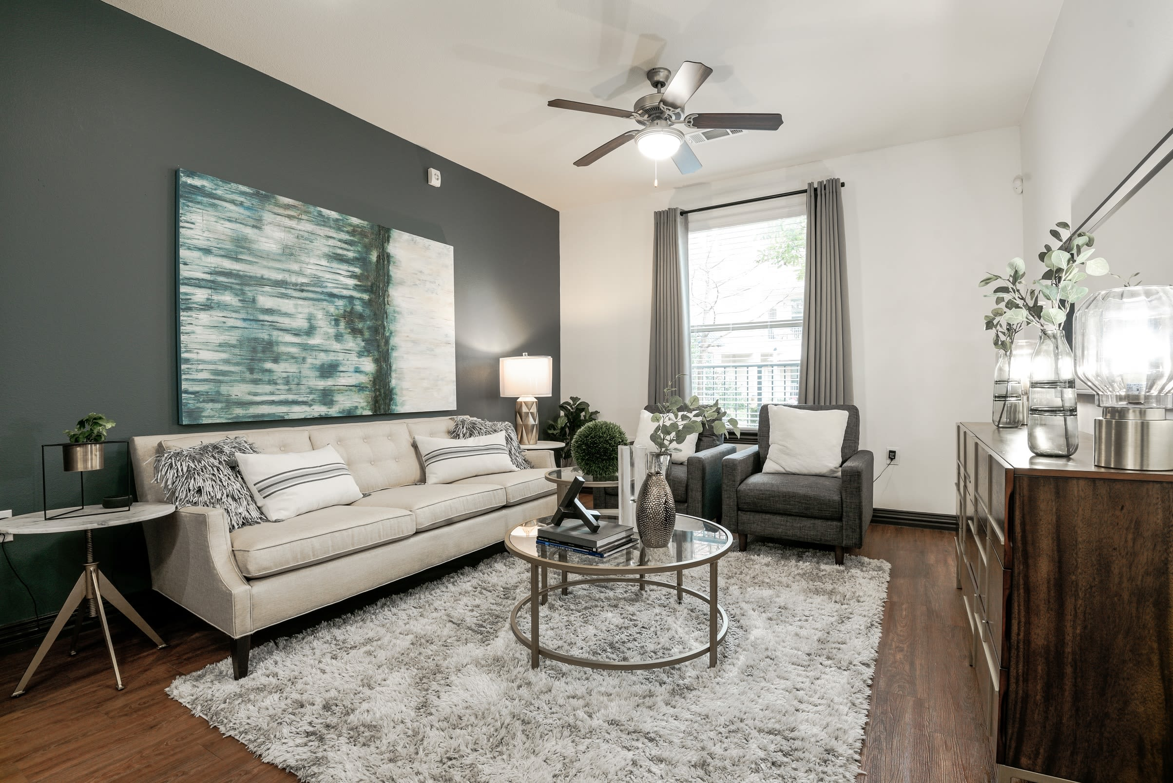 Modern decor living room at The Blvd in Irving, Texas