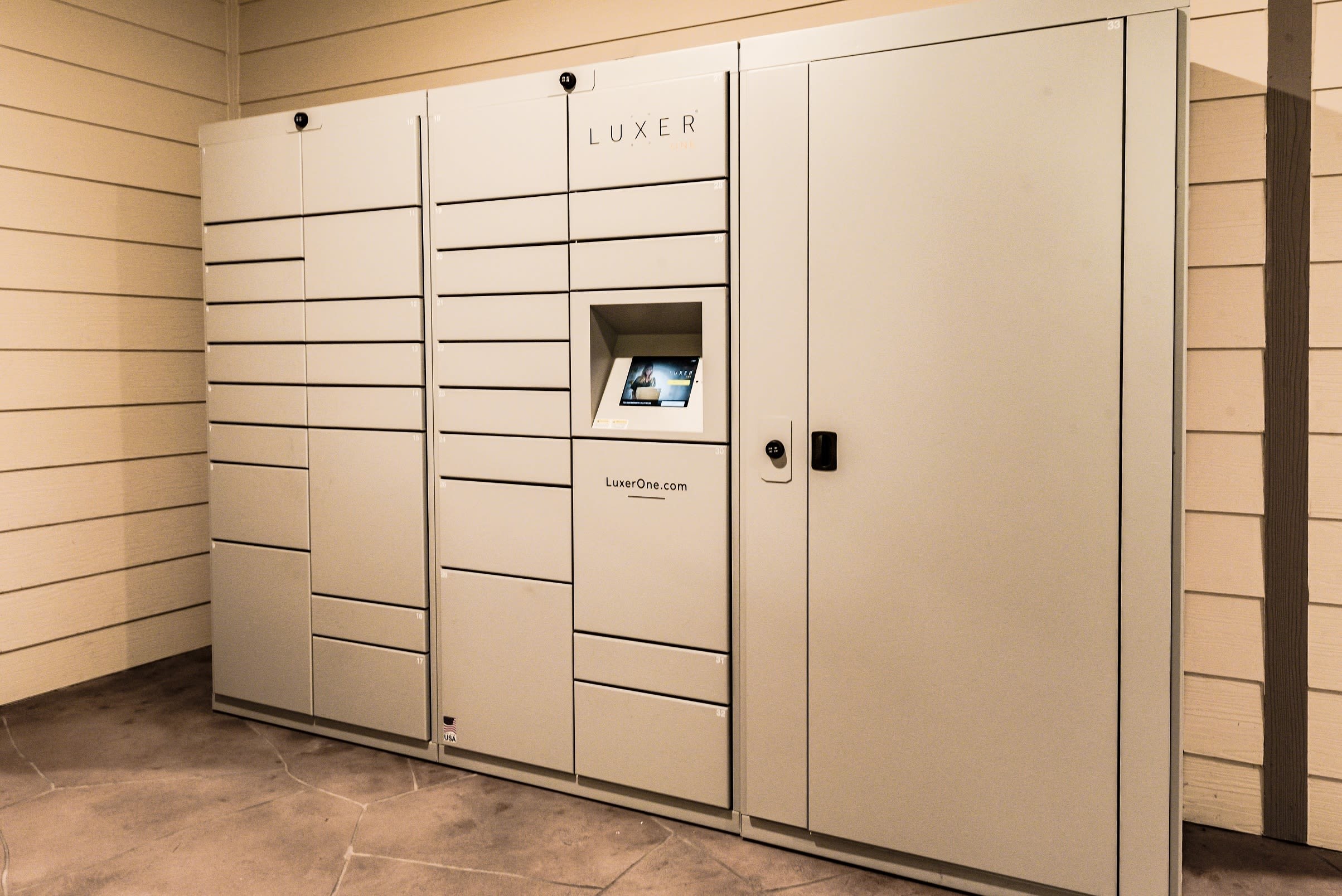 Storage lockers for residents at The Blvd in Irving, Texas