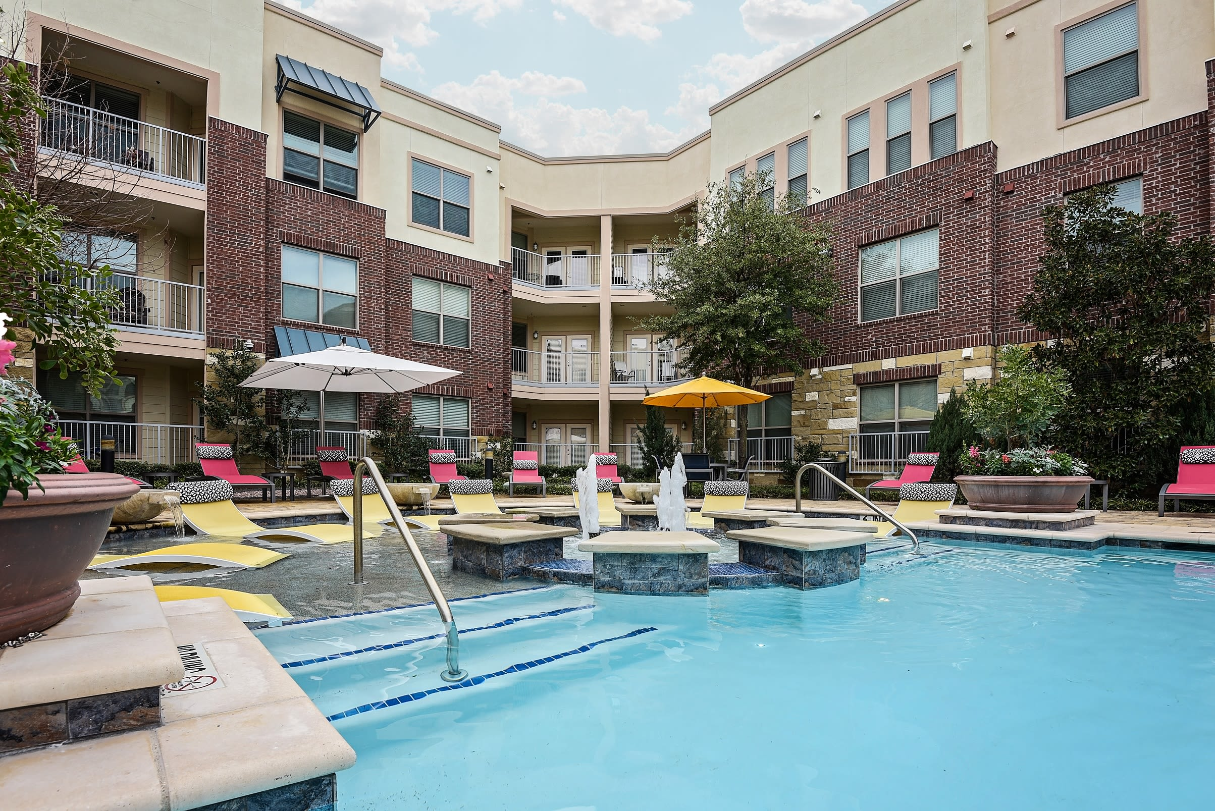 Beautiful resort-style pool at The Blvd in Irving, Texas