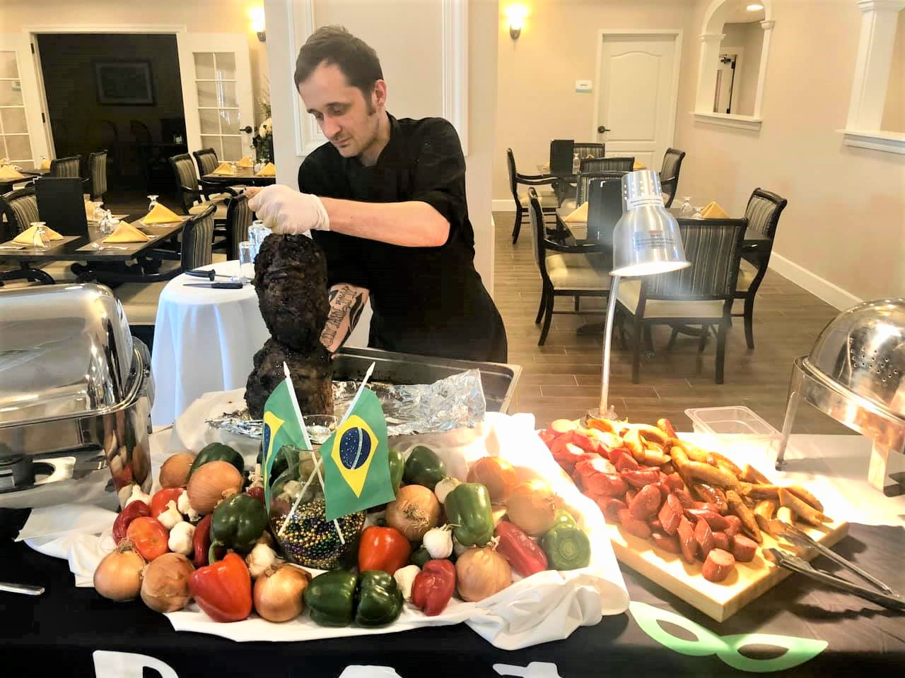 Chef making Brazilian meals at Inspired Living Lewisville in Lewisville, Texas.