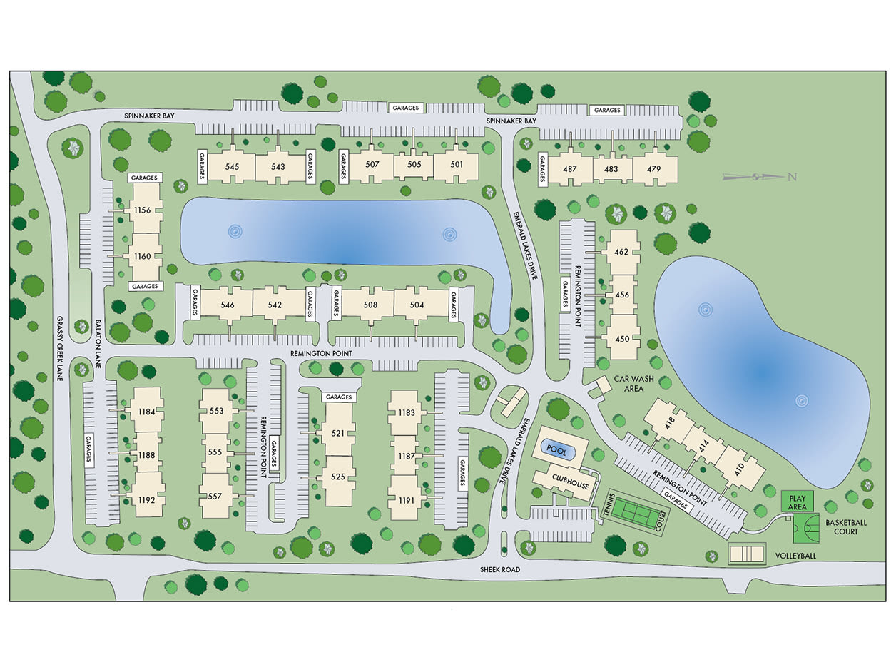 Site map of Emerald Lakes in Greenwood, Indiana