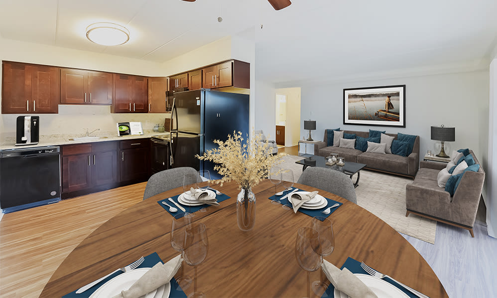 Dining Room & Living Room at William Penn Village Apartment Homes in New Castle, Delaware