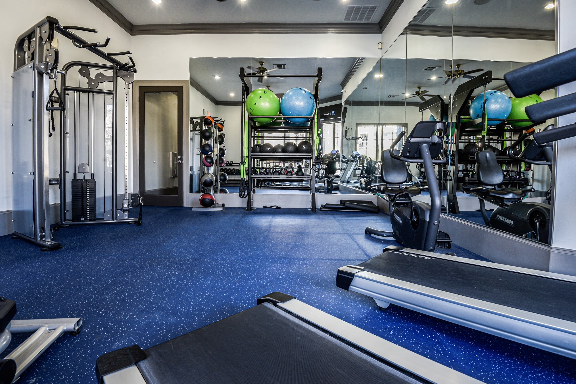 Large fitness center at Ranch ThreeOFive in Arlington, Texas