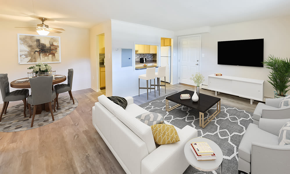 Spacious Living Room at Waterview Apartments in West Chester, Pennsylvania