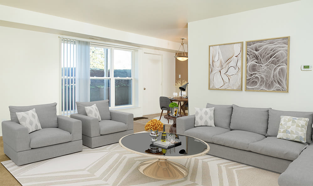 Cozy living room at Hillcrest Village in Niskayuna, New York
