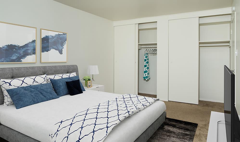 Cozy bedroom at Hillcrest Village in Niskayuna, New York
