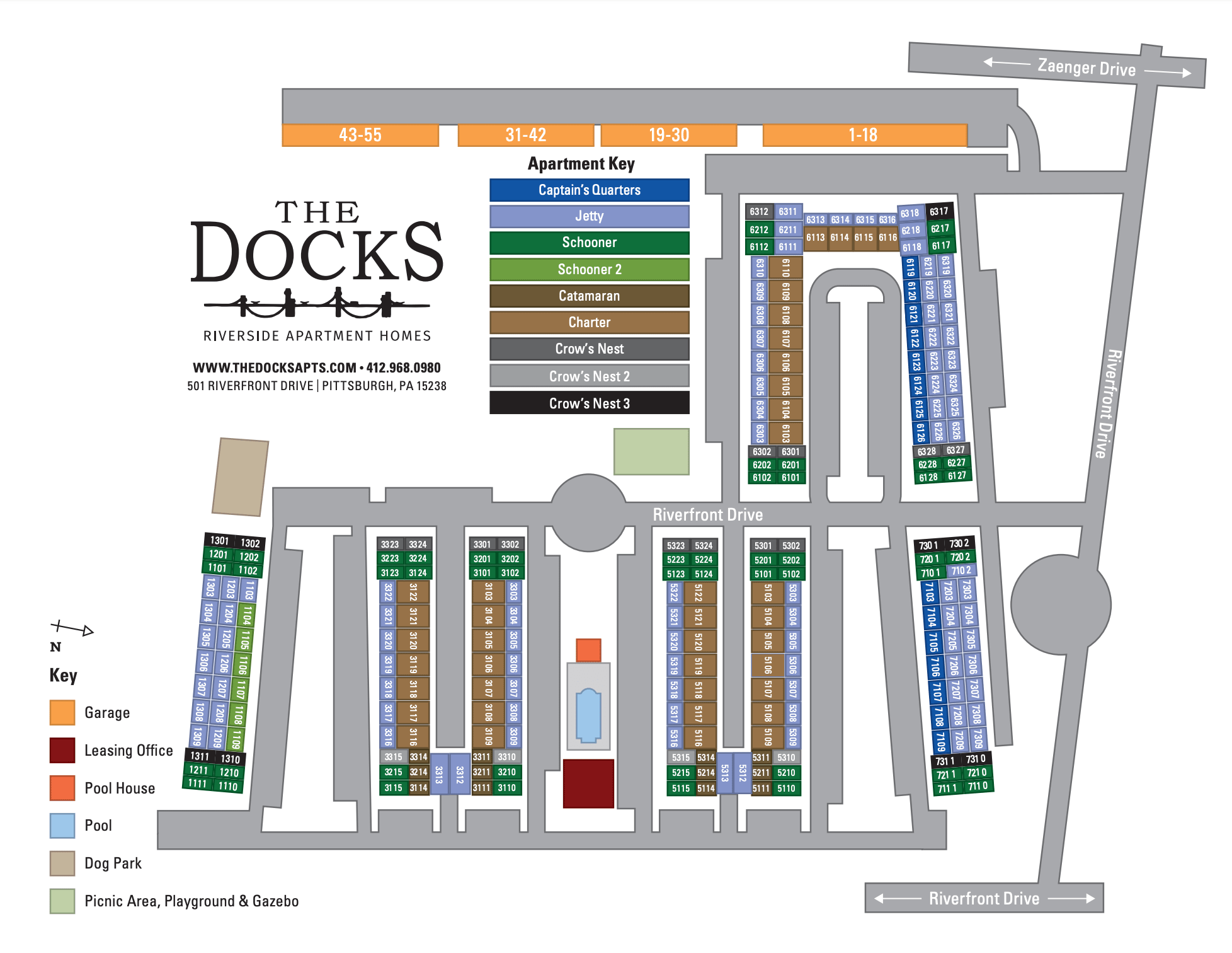 The Docks site map