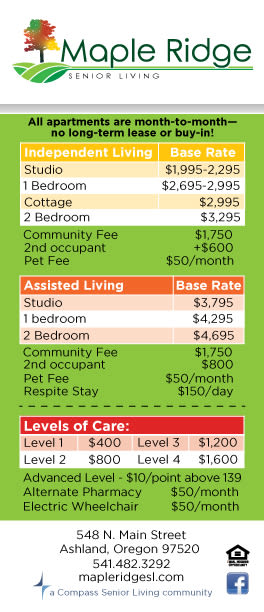 Rates Sheet at Maple Ridge Senior Living