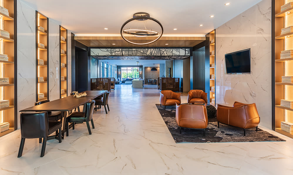 Modern lobby at The Nathaniel in Rochester, New York