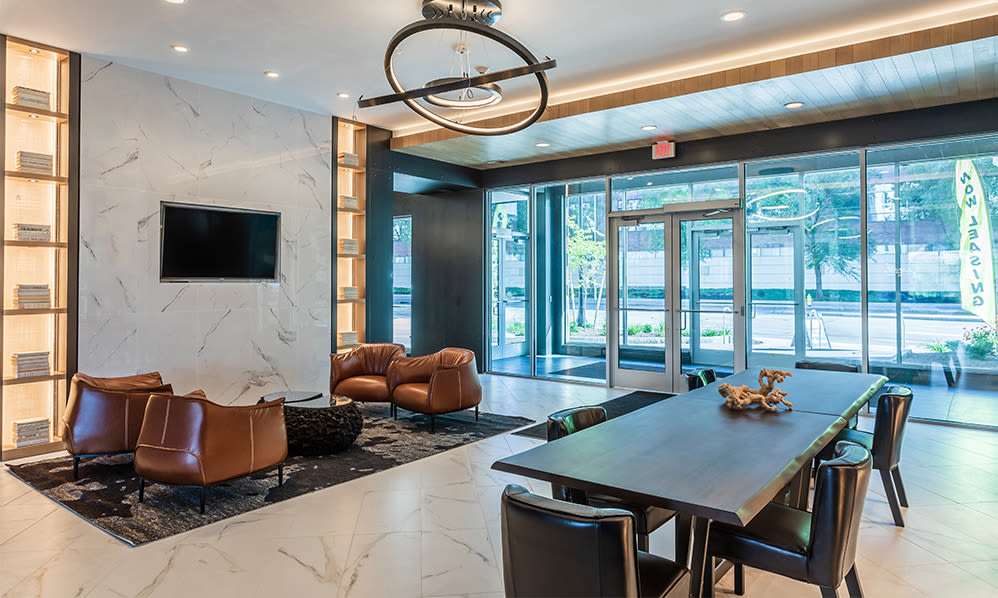 Luxurious lobby at The Nathaniel in Rochester, New York