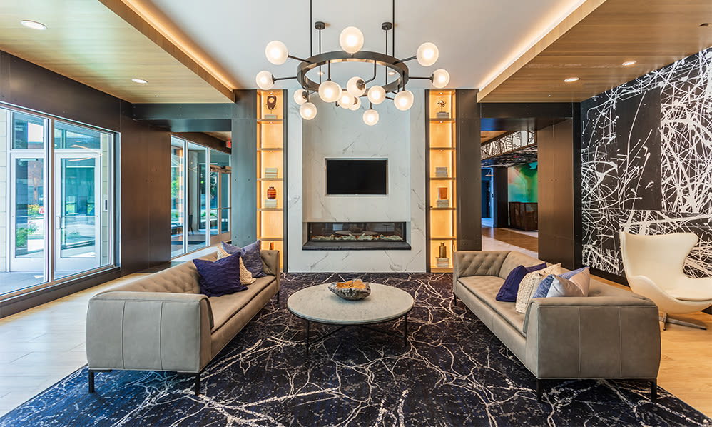 Relaxing clubhouse at The Nathaniel in Rochester, New York