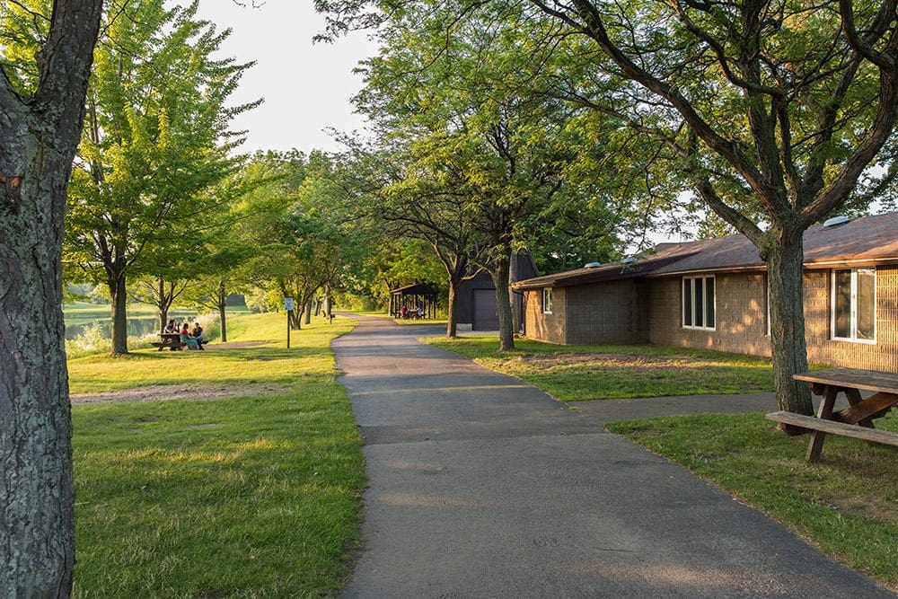 North Ponds Park pathway in Webster, New York near Winding Creek Apartments