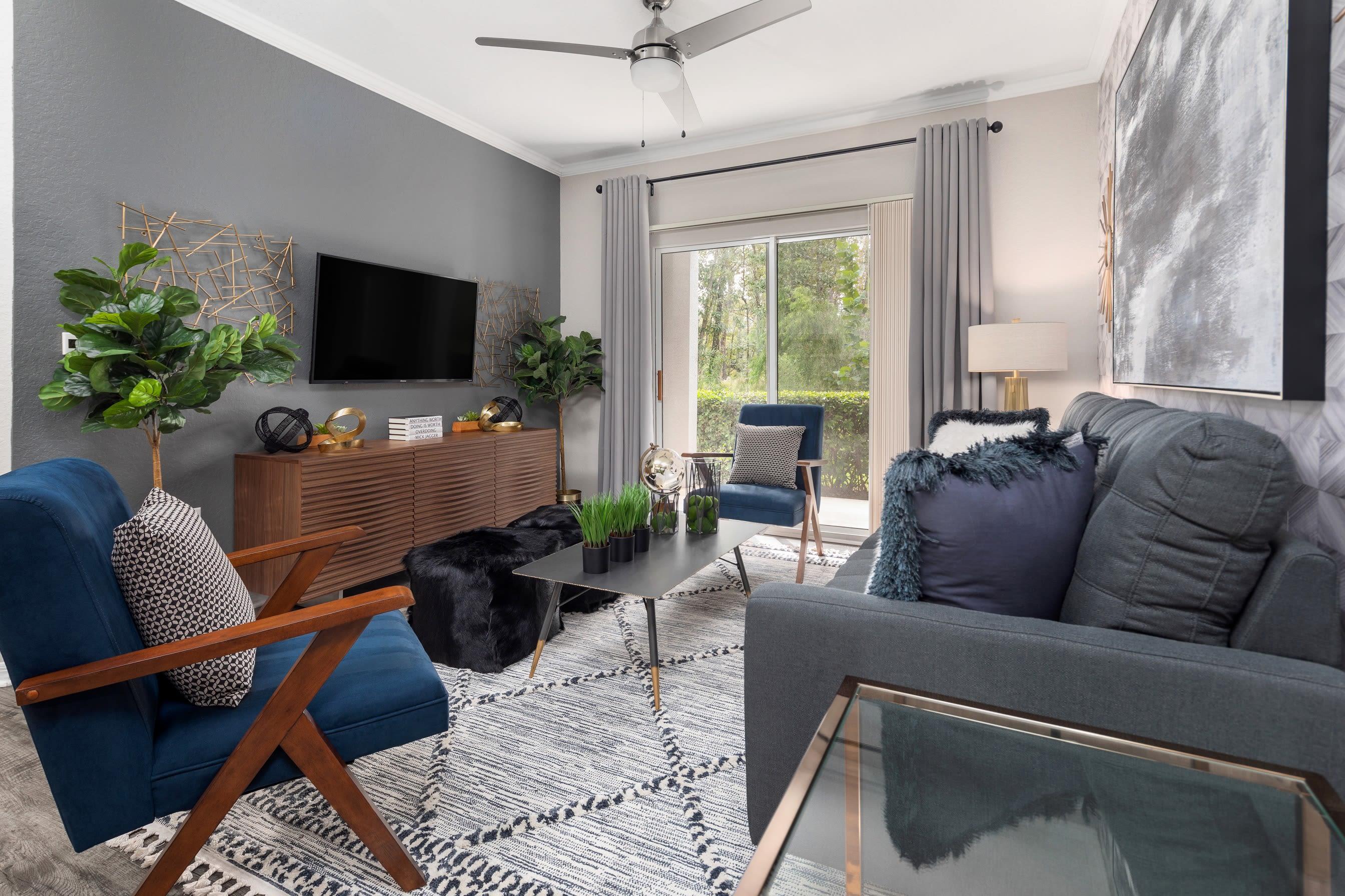 Modern decor in model living room at Mezza in Jacksonville, Florida
