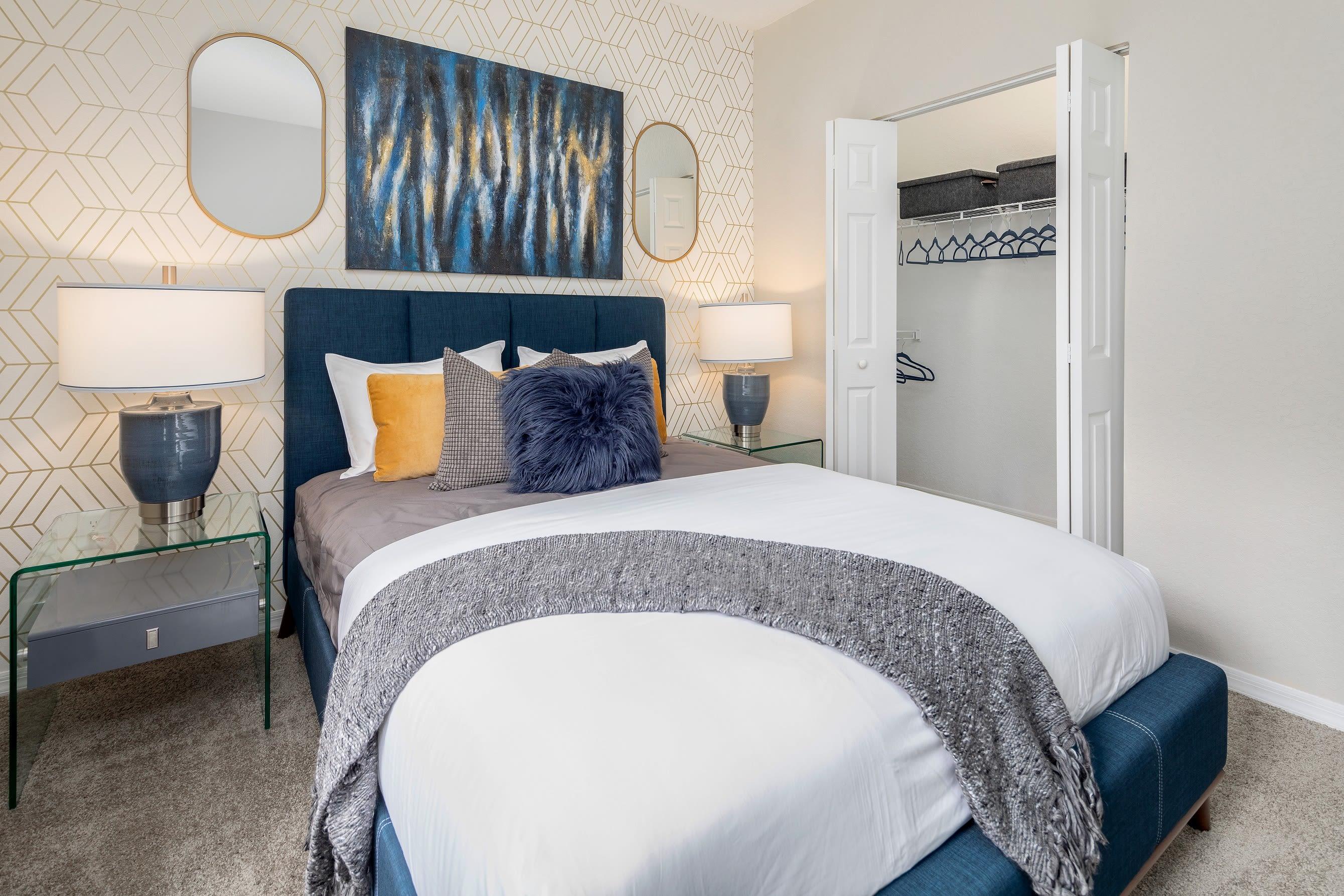 Model bedroom at Mezza in Jacksonville, Florida