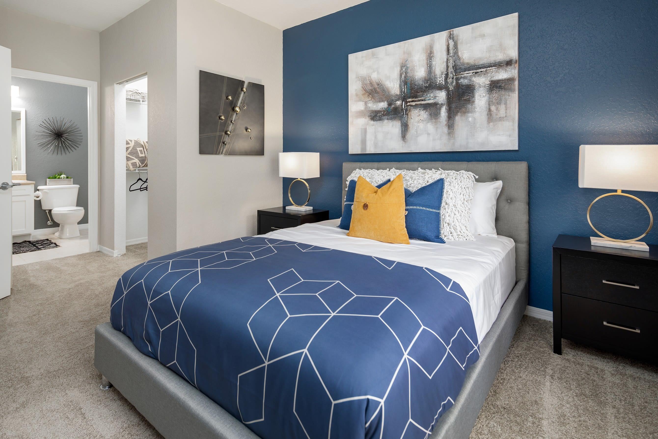 Main bedroom in model unit at Mezza in Jacksonville, Florida