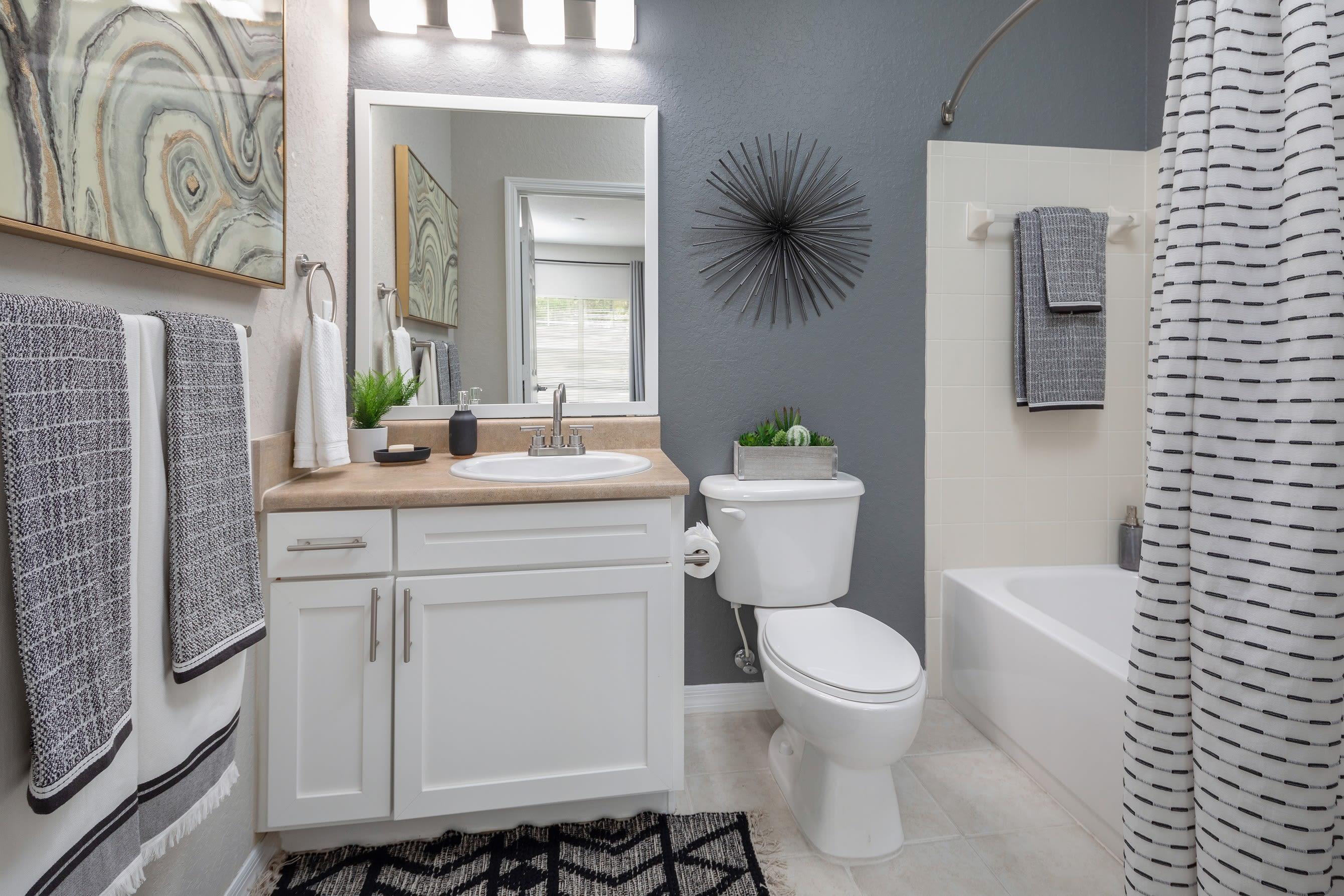 Model bathroom with large vanity mirror at Mezza in Jacksonville, Florida