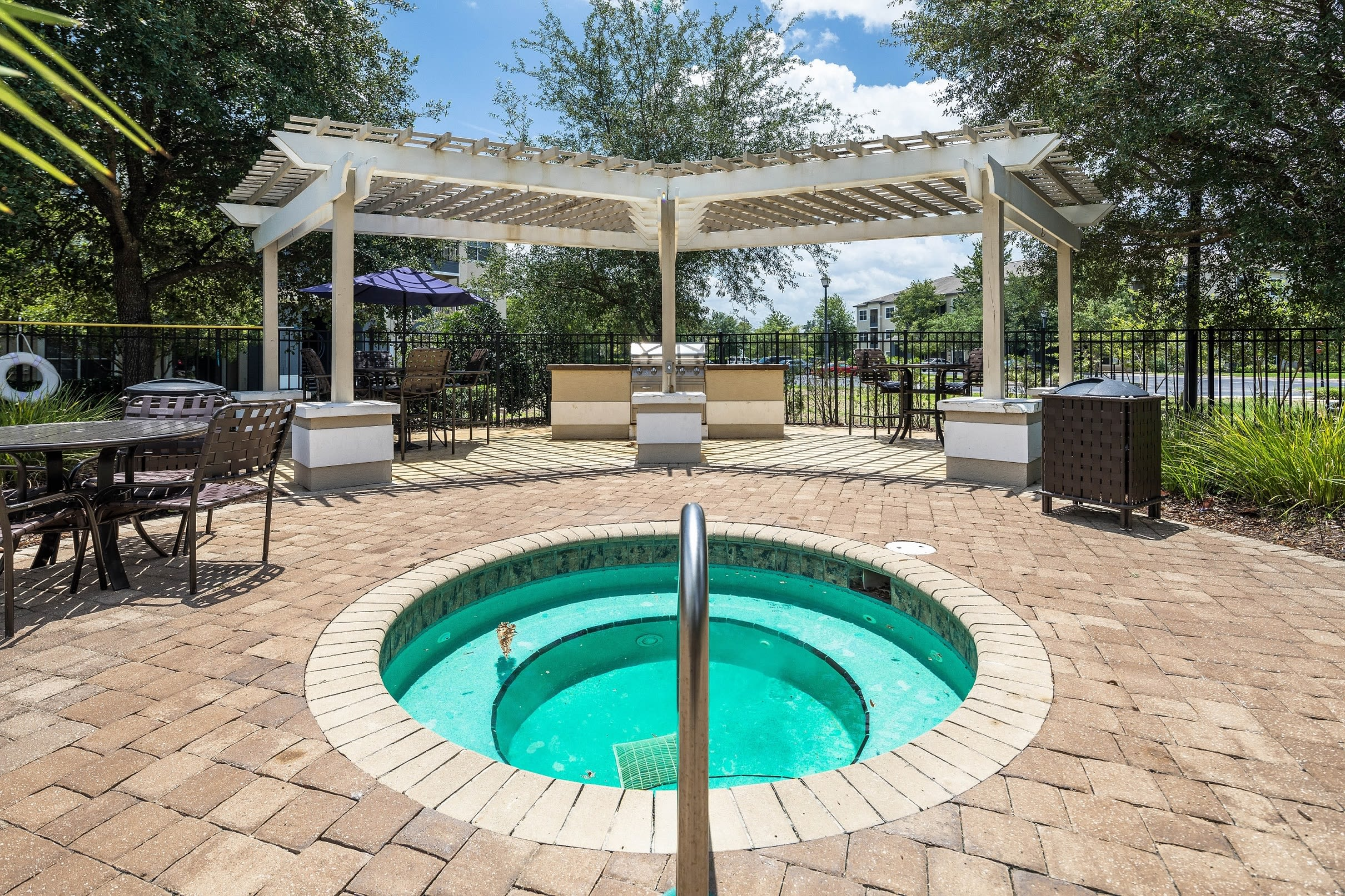 Resort style hot tub with gazebos at Mezza in Jacksonville, Florida
