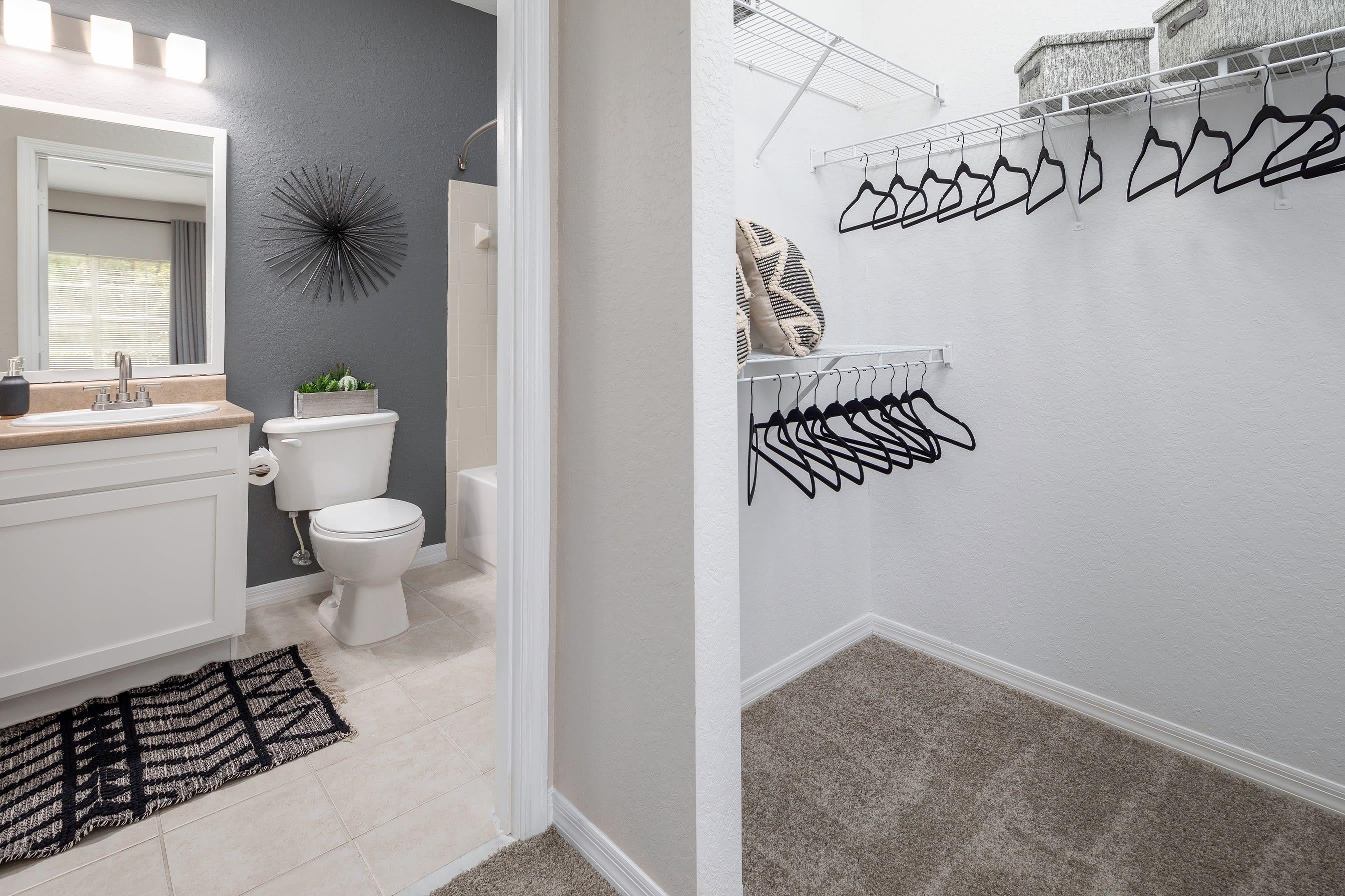 Walk in closet next to main bathroom at Mezza in Jacksonville, Florida
