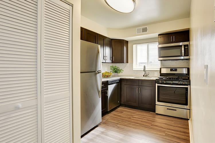 Modern kitchen at apartments in Glen Burnie, Maryland
