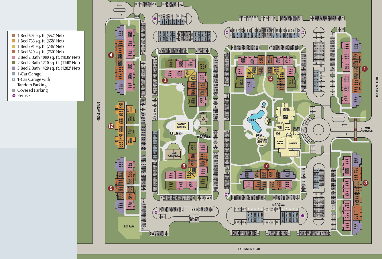 Site map of Southern Avenue Villas in Mesa, AZ