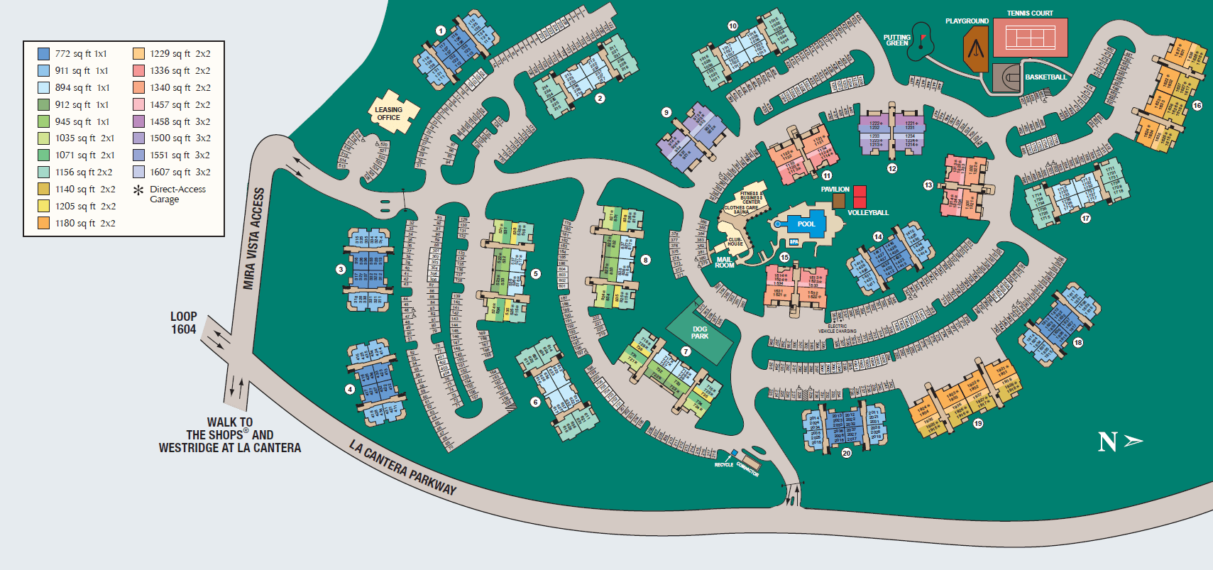Site map of Mira Vista at La Cantera in San Antonio, TX