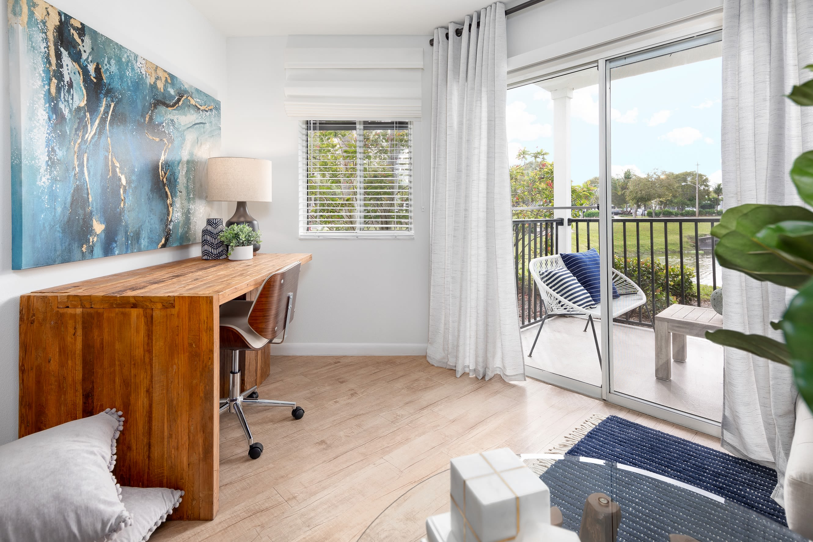 Office room with porch access at Cielo Boca in Boca Raton, Florida