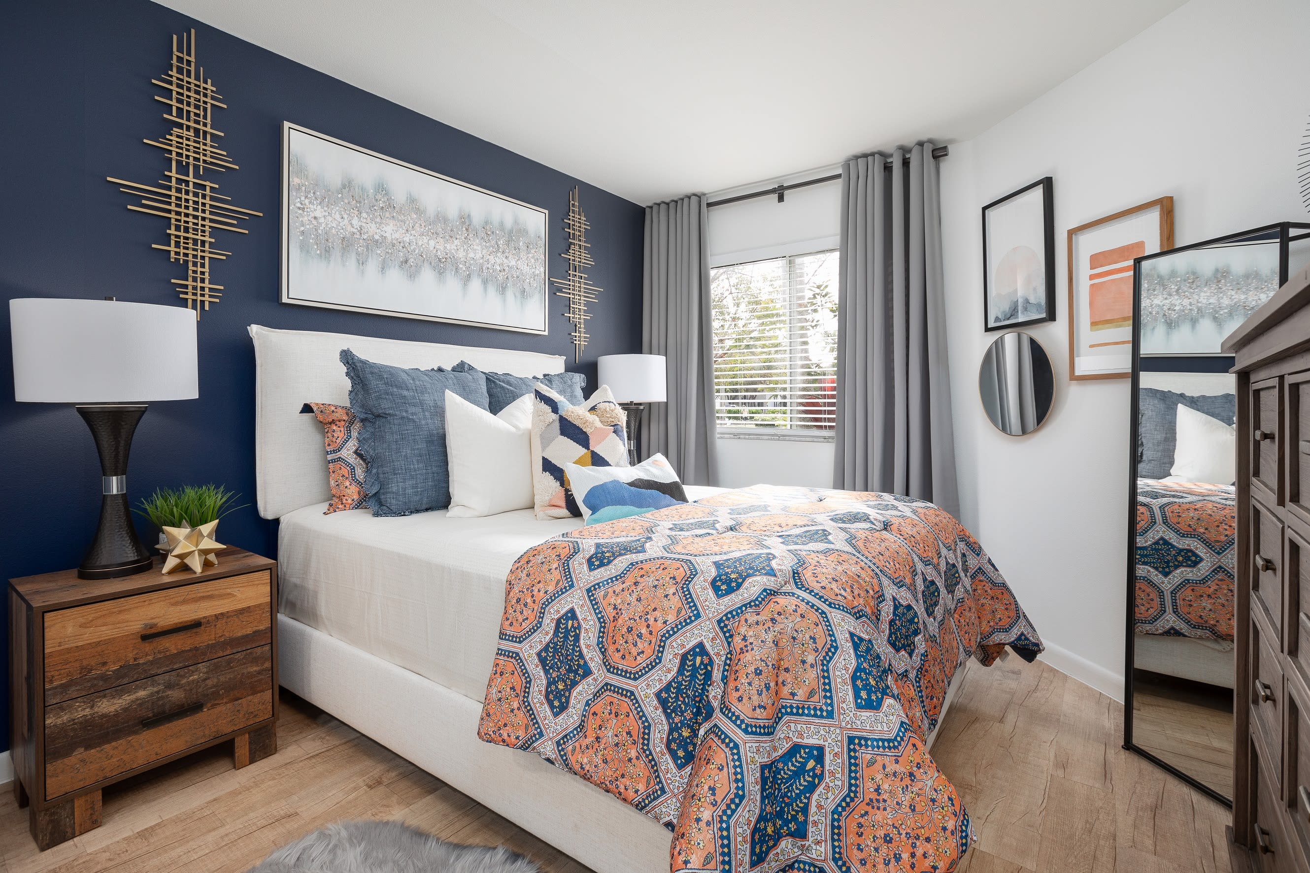 Well lit bedroom at Cielo Boca in Boca Raton, Florida