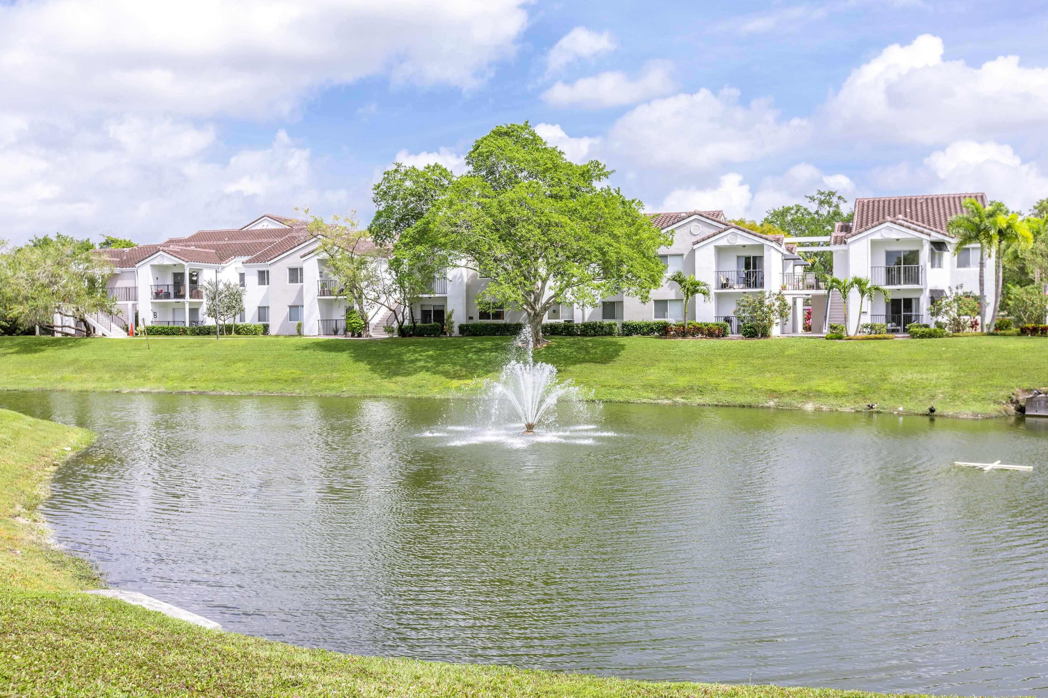 Exterior pond with fountain at Cielo Boca in Boca Raton, Florida