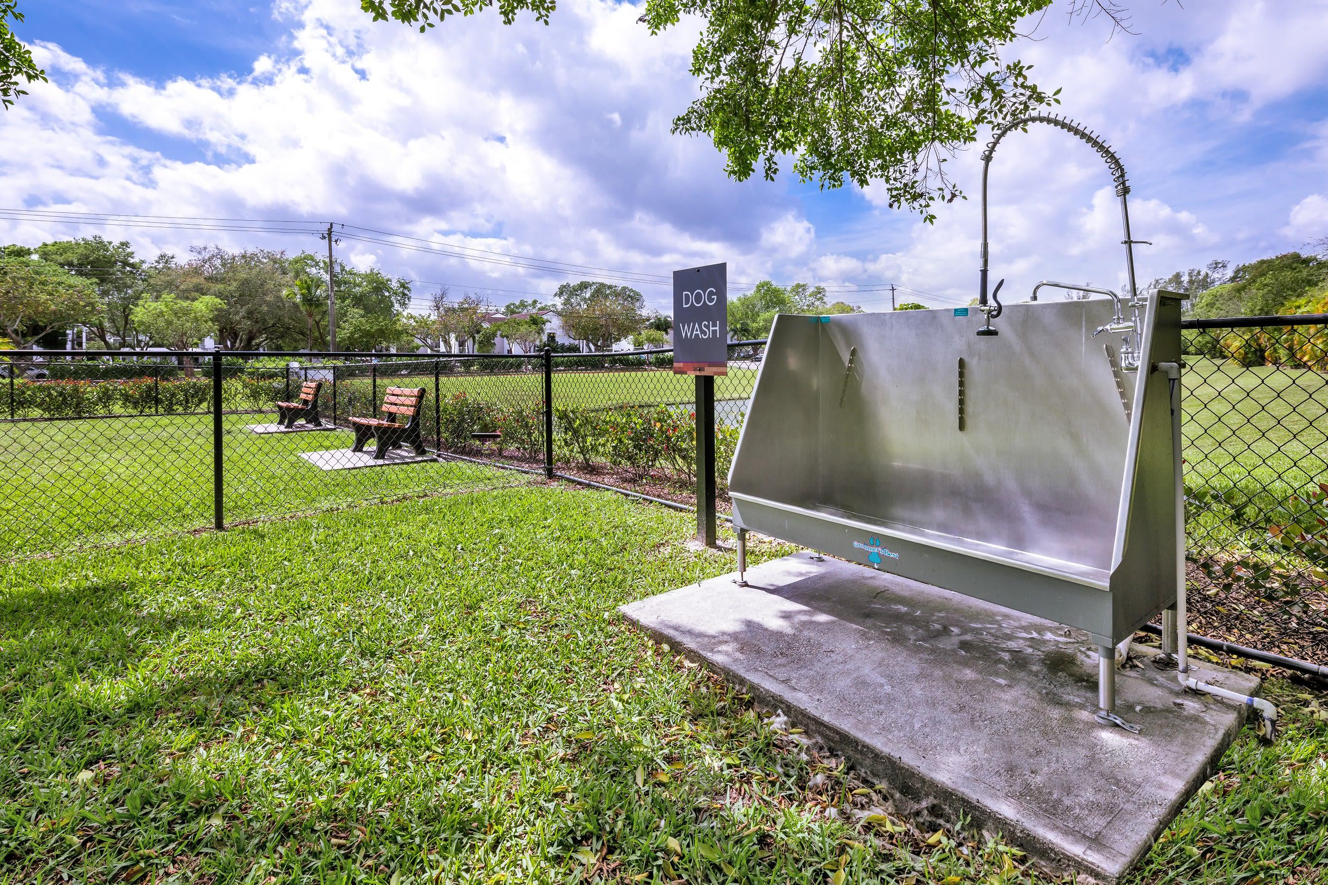 Dog wash station by dog park near Cielo Boca in Boca Raton, Florida