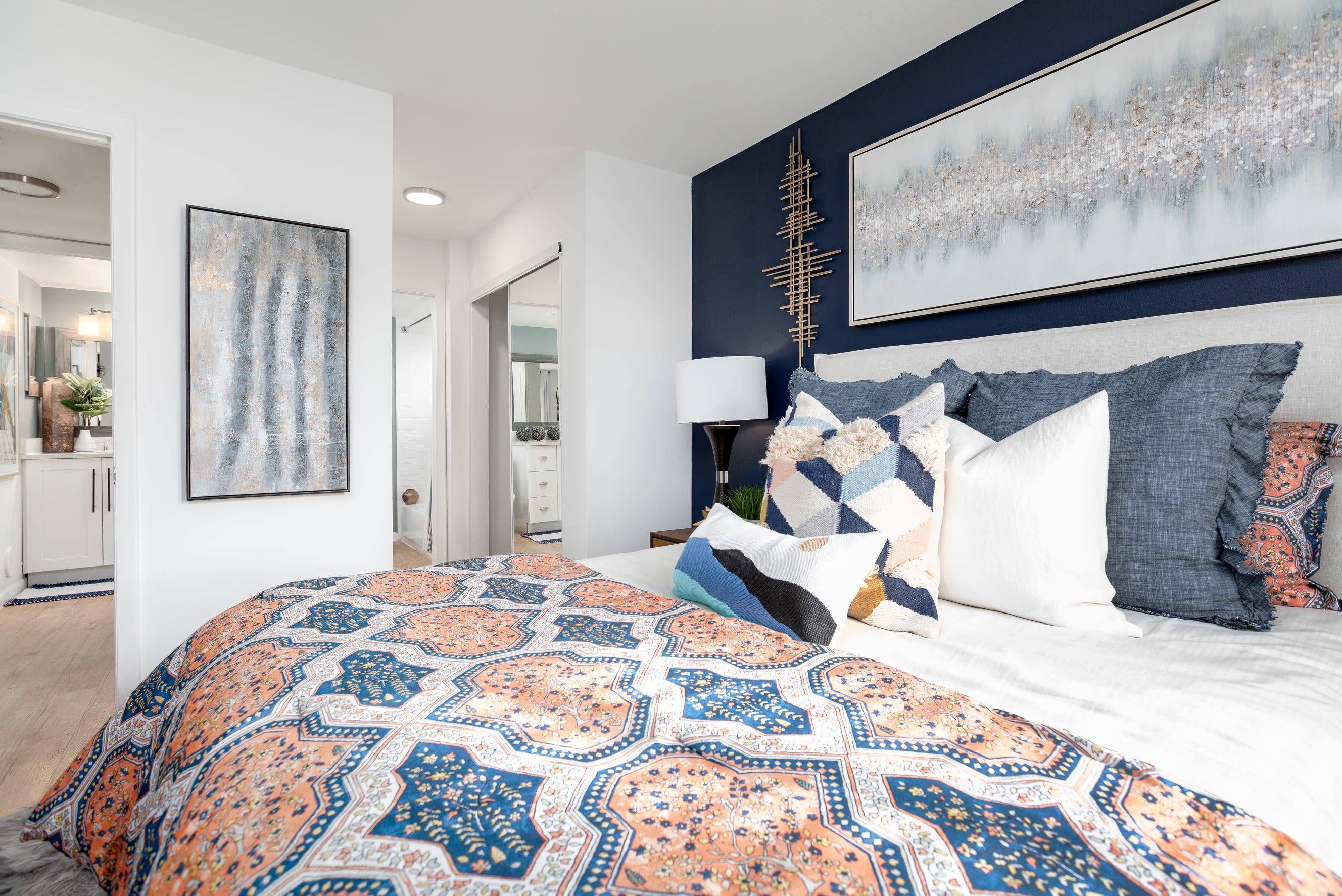 Comfortable bedroom at Cielo Boca in Boca Raton, Florida