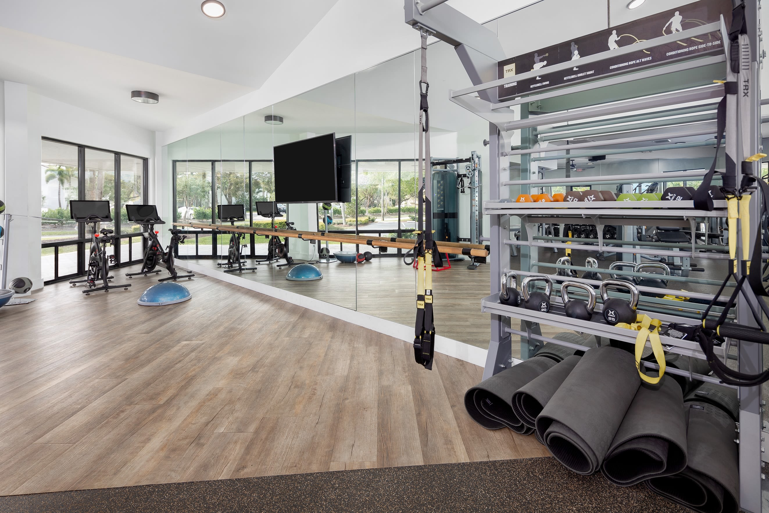 Large indoor fitness center for residents to use at Cielo Boca in Boca Raton, Florida