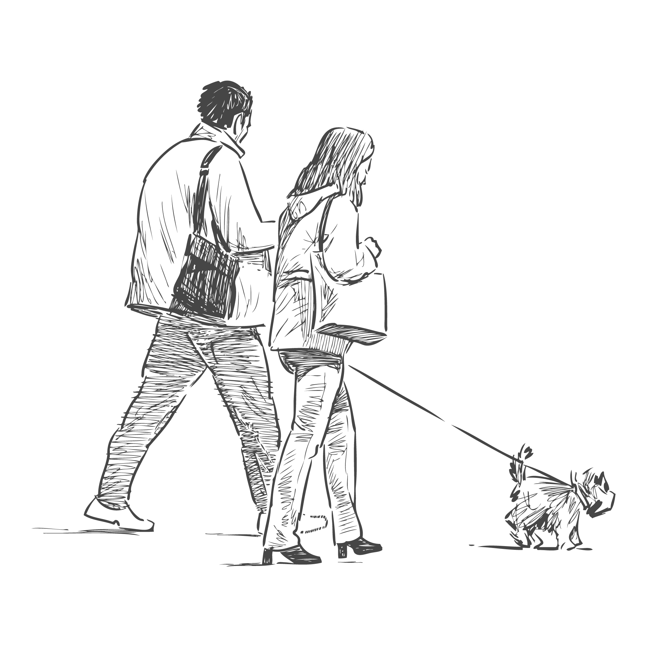 Sketch of residents on a walk with their pup near 210-220 E. 22nd Street in New York, New York