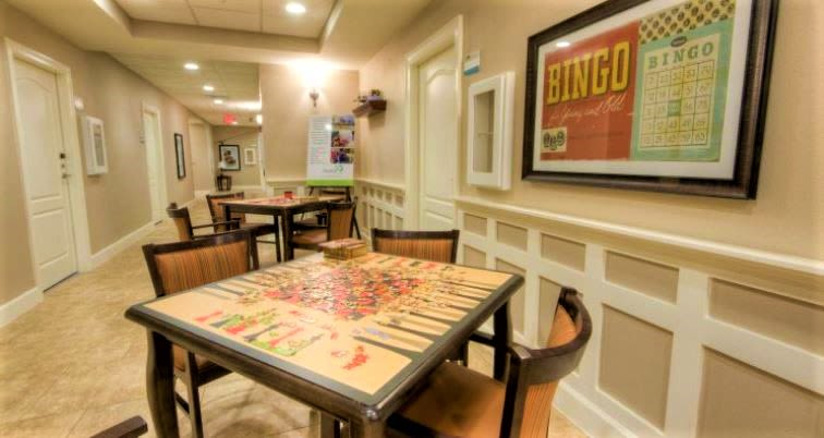 Game Tables at Inspired Living Tampa in Tampa, Florida.