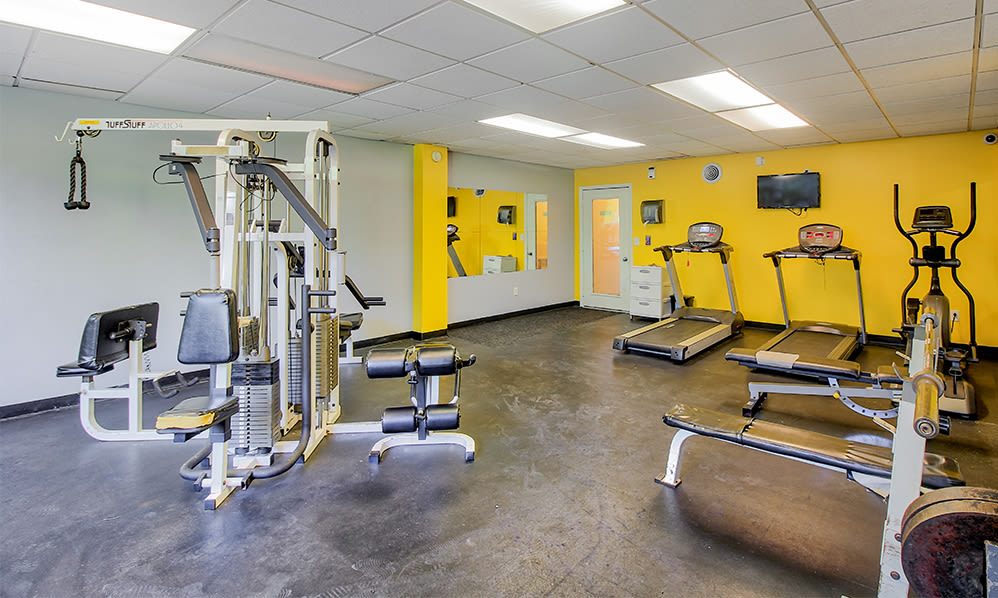 Modern fitness center at The Meadows Apartments in Syracuse, New York