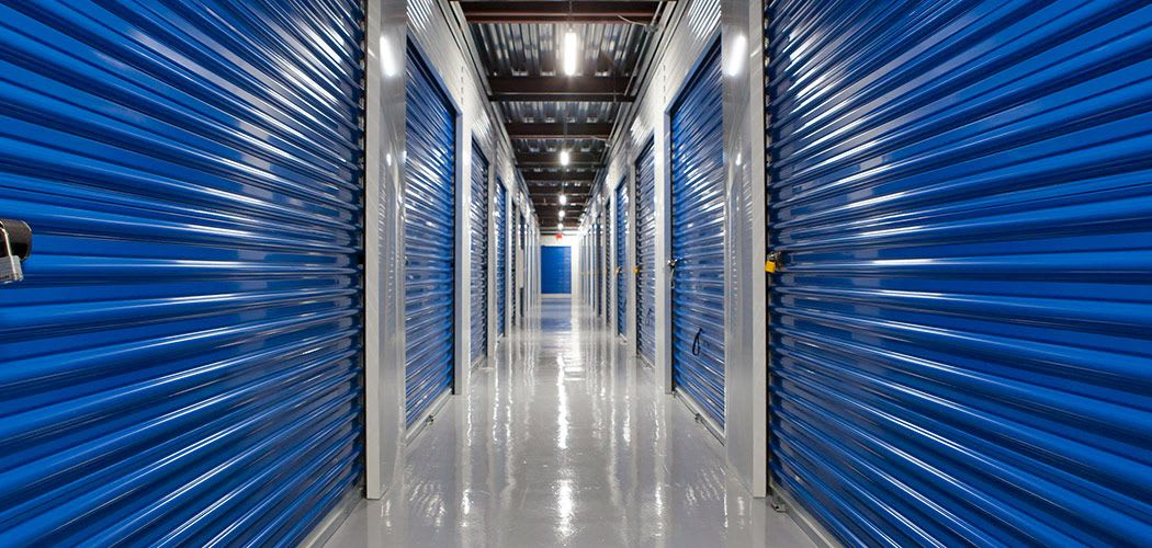 Interior hallway outside climate-controlled storage units at Atlantic Self Storage in Jacksonville