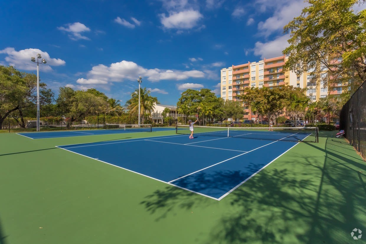 Onsite tennis court and more for resident use at Aliro in North Miami Beach, Florida