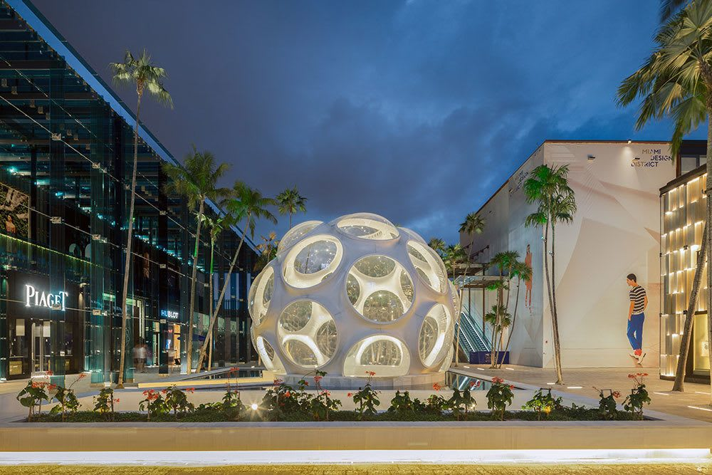 Modern art and luxury shopping center near Aliro in North Miami Beach, Florida
