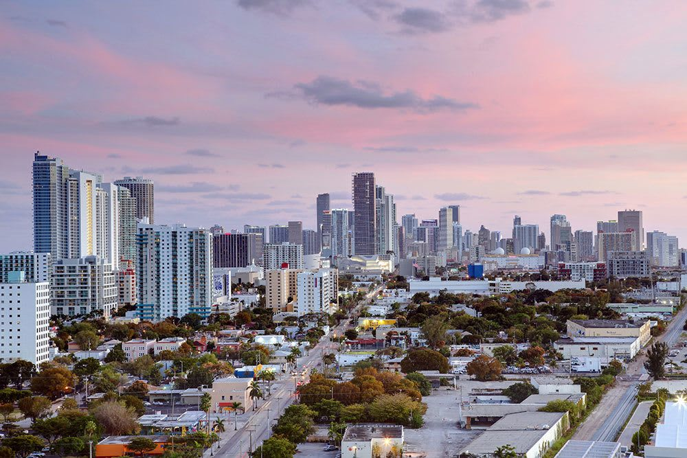 Downtown skyline at sunset near Aliro in North Miami Beach, Florida