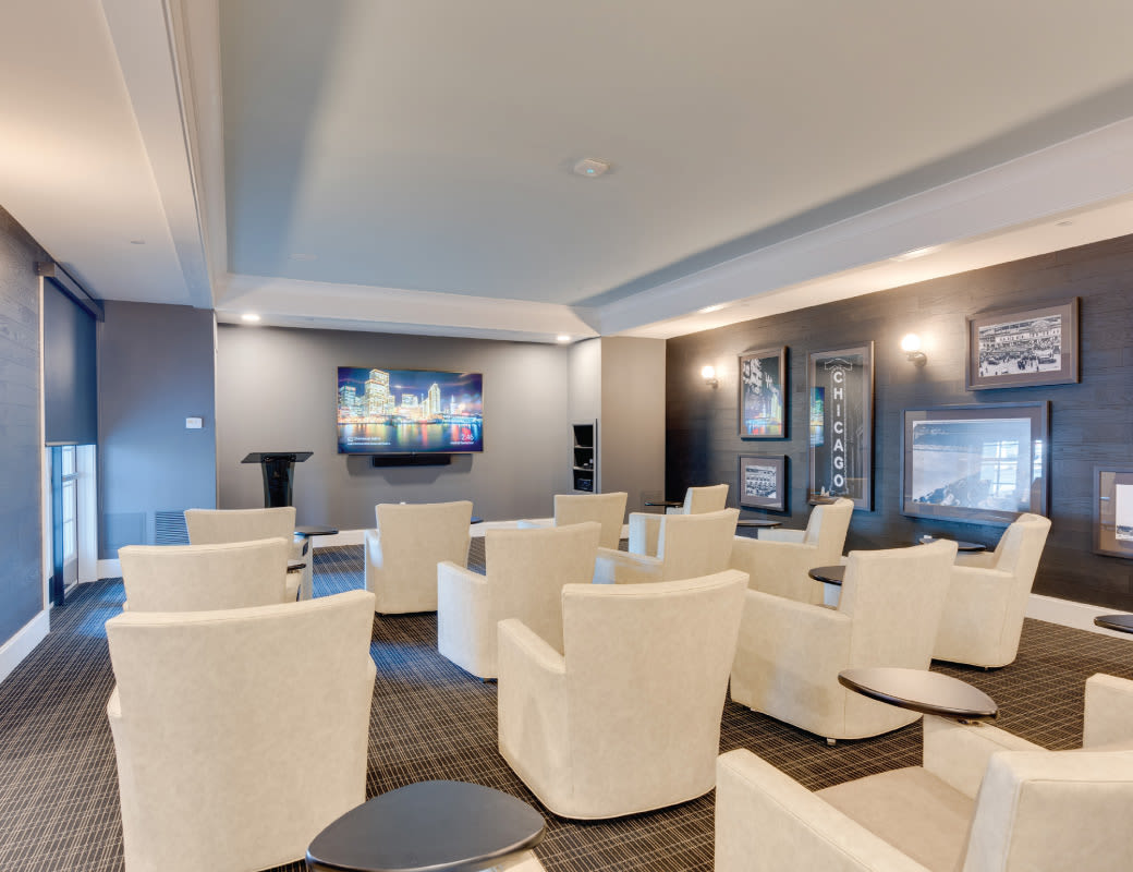 Commiunity theater room at Avenida Naperville Apartments