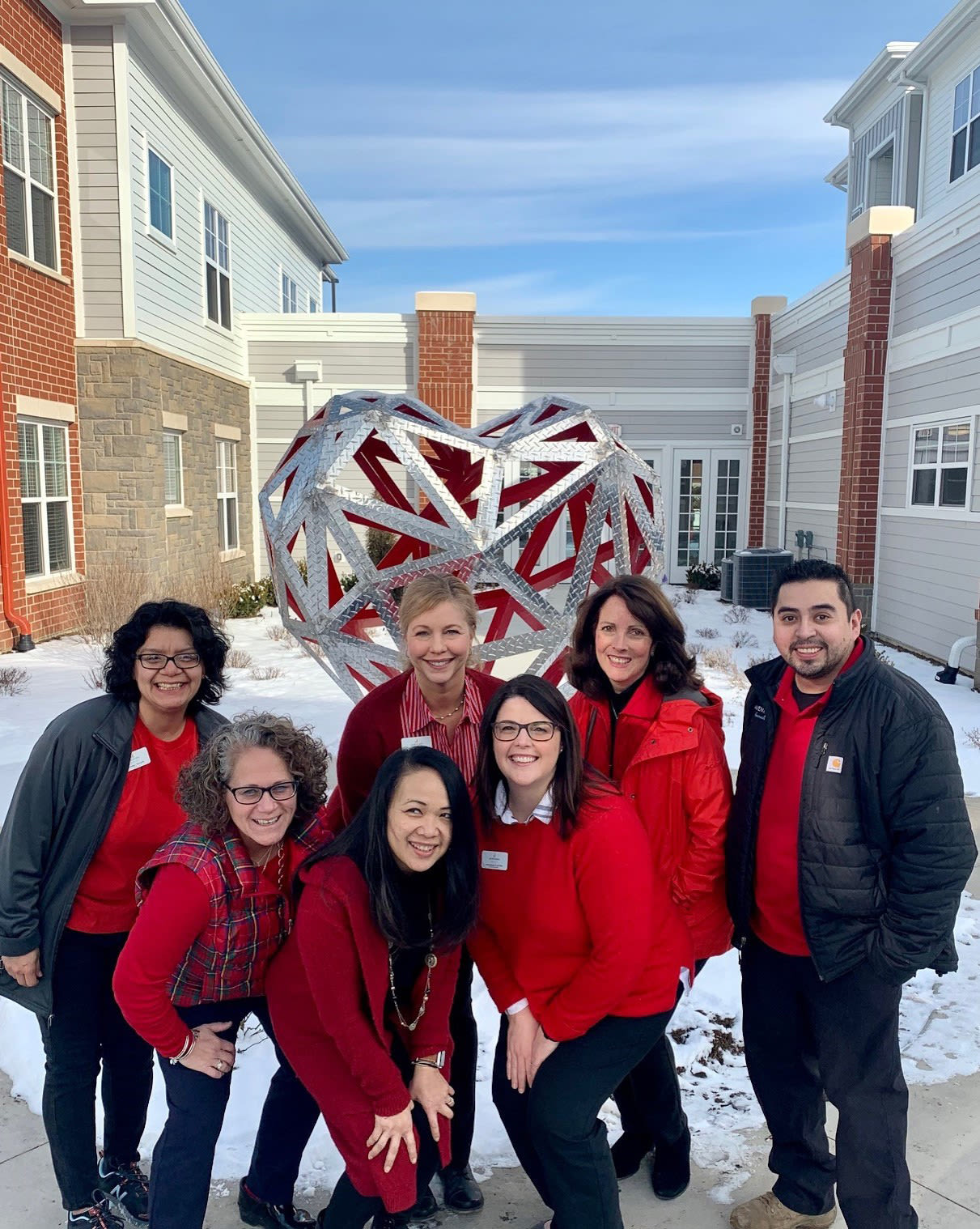 The team wearing red in the winter - Avenida Naperville