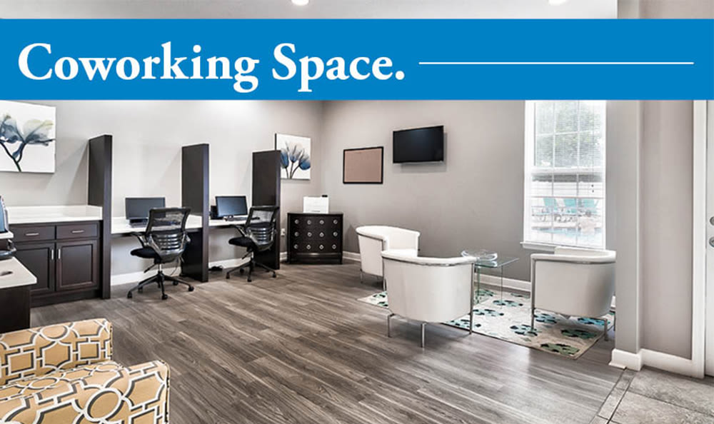 Coworking space at Main Street Apartments in Huntsville, Alabama