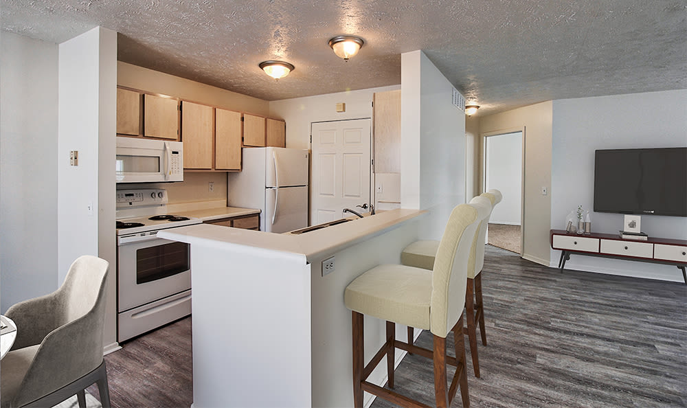 Fully-equipped kitchen at Westview Commons Apartments in Rochester, New York