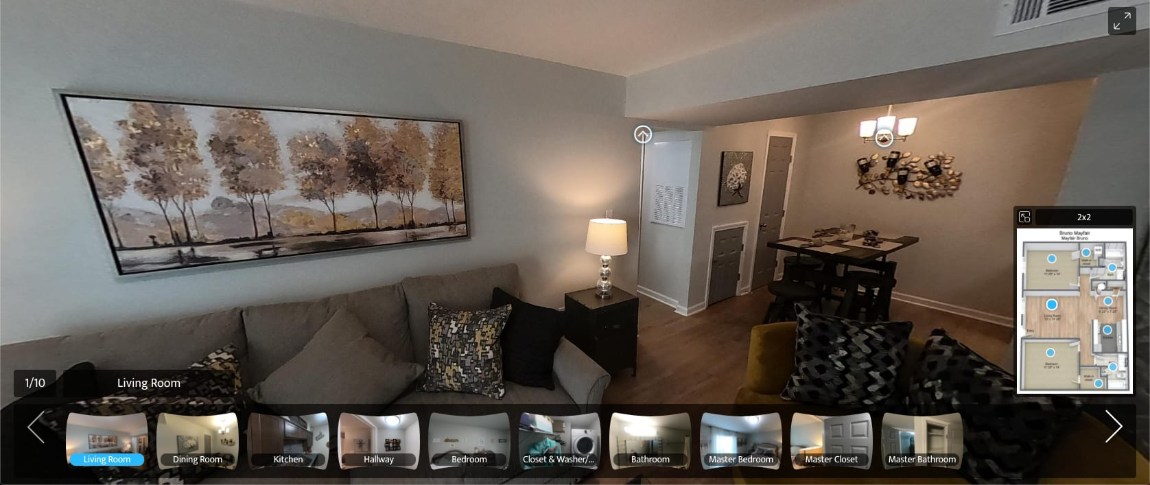 virtual tour of 2 Bedroom 2 Bath apartment at The Mayfair Apartment Homes in New Orleans, Louisiana