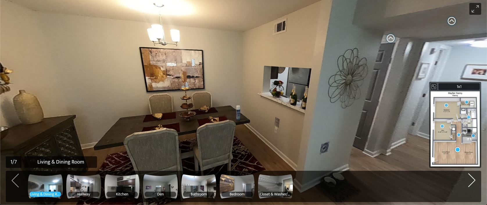 virtual tour of 1 Bedroom 1 Bath apartment at The Mayfair Apartment Homes in New Orleans, Louisiana