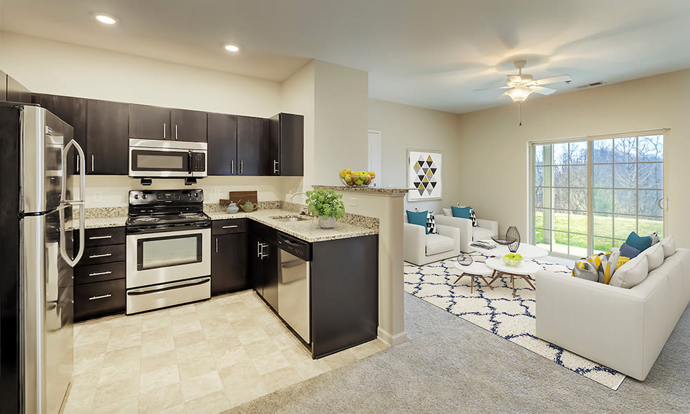 Large kitchen and living space at Reserve at Southpointe in Canonsburg, Pennsylvania