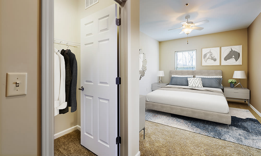 Large closet in bedroom at Reserve at Southpointe in Canonsburg, Pennsylvania