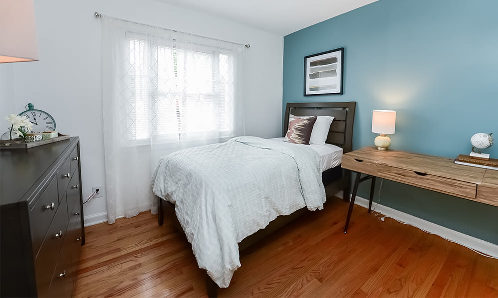 Cozy bedroom at apartments in Elmwood Park, New Jersey