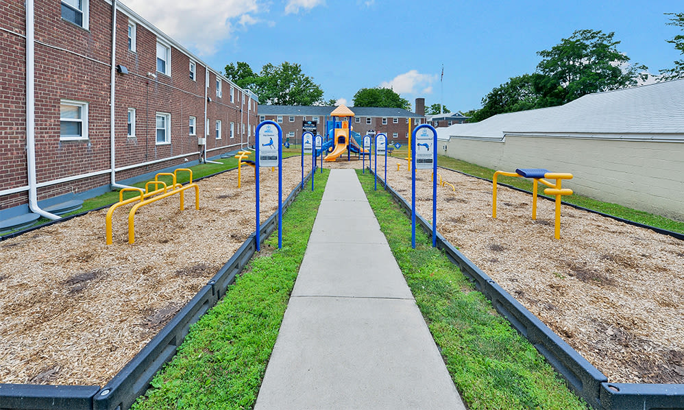 Outdoor fitness stations at apartments in Elmwood Park, New Jersey