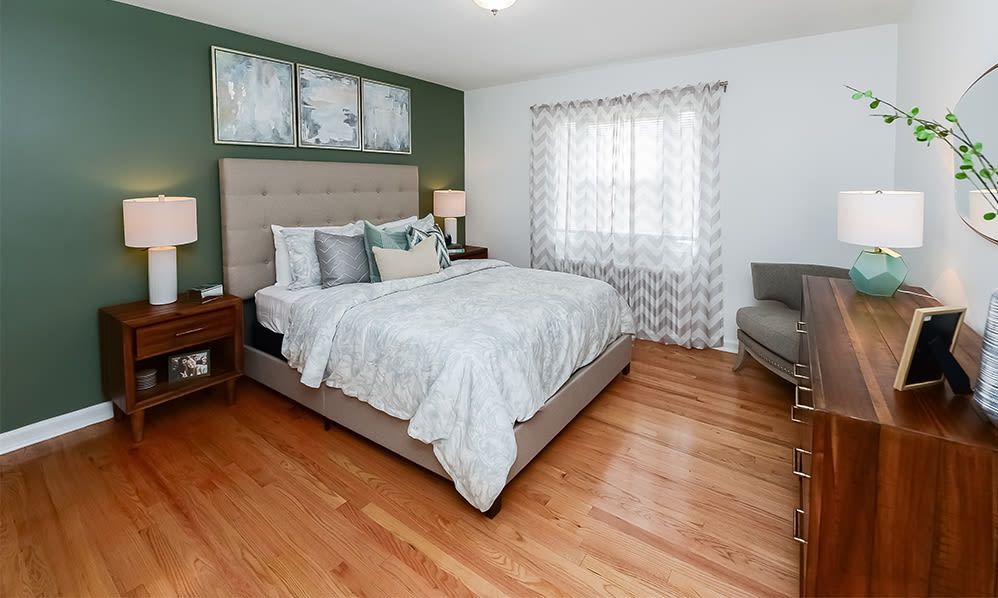 Spacious bedroom at apartments in Elmwood Park, New Jersey